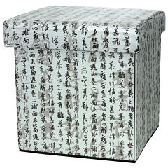 Oriental Furniture Calligraphy Footstool