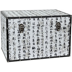 Oriental Furniture Bamboo Calligraphy Storage Trunk