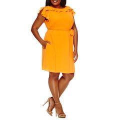 Worthington Sleeveless Fit & Flare Dress-Plus