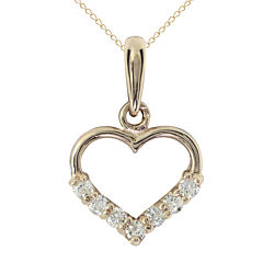 Girls 14K Gold & Cubic Zirconia Heart Pendant Necklace