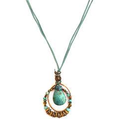 Aris by Treska Gold-Tone Blue Stone Pendant Necklace