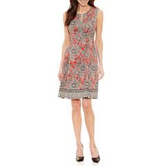 Liz Claiborne Sleeveless Pattern Fit & Flare Dress