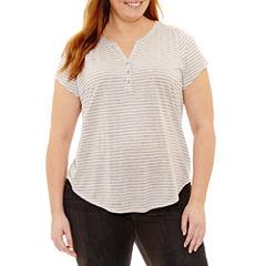 Liz Claiborne Cap Sleeve Henley Shirt-Plus