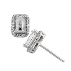 Genuine White Topaz Sterling Silver Earrings