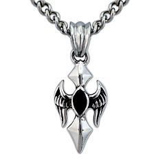 Mens Genuine Marquise-Cut Black Onyx Stainless Steel Cross Pendant Necklace