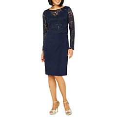 Onyx Nites Long Sleeve Floral Sheath Dress
