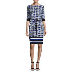 Liz Claiborne 3/4 Sleeve Diamond Shift Dress