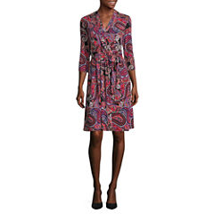 Liz Claiborne 3/4 Sleeve Paisley Wrap Dress