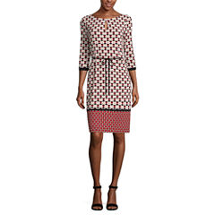 Liz Claiborne 3/4 Sleeve Geometric Shift Dress