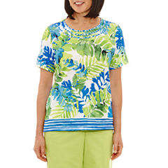 Alfred Dunner Corsica Short Sleeve Crew Neck Floral T-Shirt-Womens
