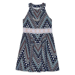Knit Works Printed U-Neck Dress with Necklace - Girls' 7-16