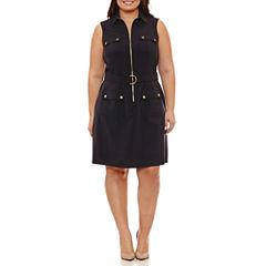 Sharagano Sleeveless Shirt Dress-Plus