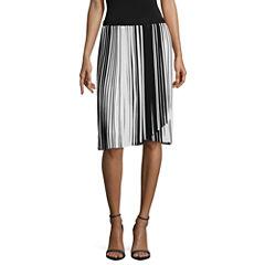 Worthington Stripe Pleated Skirt Talls