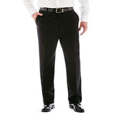 Stafford® Super 100 Black Stripe Flat-Front Suit Pants–Big & Tall