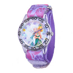 Disney Fairies Kids Time Teacher Purple Print Nylon Fast Strap Watch
