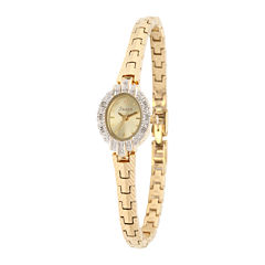Personalized Dial Womens Diamond-Accent Oval Gold-Tone Bracelet Watch