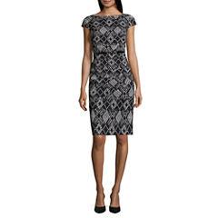 Alyx Cap Sleeve Diamond Sheath Dress