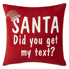 North Pole Trading Co. Santa Text Throw Pillow