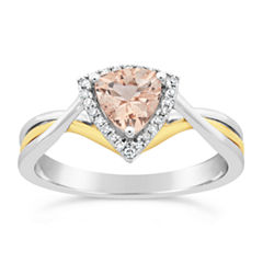 Womens 1/10 CT. T.W. Genuine Pink Morganite 10K Gold Crossover Ring