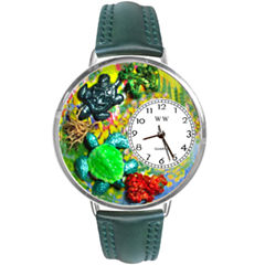 Whimsical Watches Personalized Turtle Womens Silver–Tone Bezel Green Leather Strap Watch