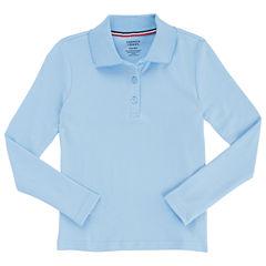 French Toast Long Sleeve Interlock Polo With Picot Collar Long Sleeve Polo Shirt - Big Kid Girls