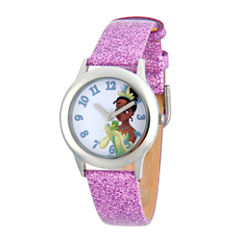 Disney Princess Girls Purple Glitz and Silver Tone Tiana Strap Watch W002979
