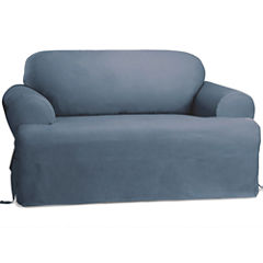 SURE FIT® Cotton Duck T-Cushion Sofa Slipcover