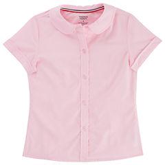 French Toast Short Sleeve Peter Pan Blouse - Girls Preschool