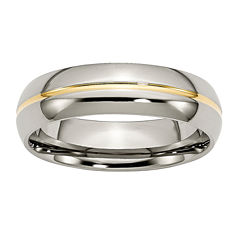 Personalized Mens 6mm Titanium Yellow Ion-Plated Wedding Band