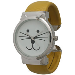 Olivia Pratt Womens Tomcat Dial Mustard Leather Cuff Watch 13895