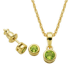 Girls 2-pc. Green Peridot 18K Gold Over Silver Jewelry Set