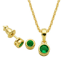 Girls 2-pc. Lab Created Emerald 18K Gold Over Silver Jewelry Set