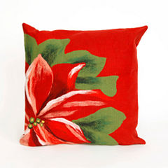 Liora Manne Visions Ii Poinsettia Square Outdoor Pillow