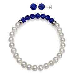 6-7Mm Cultured Freshwater Pearl And 6Mm Blue Lab Created Crystal Bead Sterling Silver Earring And Bracelet Set