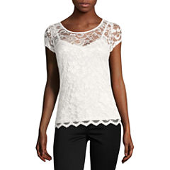 Almost Famous Short Sleeve V Neck Lace Blouse-Juniors