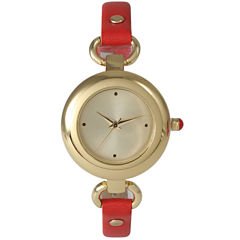 Olivia Pratt Womens Gold-Tone Red Leather Strap Watch 15302