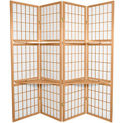 Oriental Furniture 5.5' Window Pane With Shelf Room 4 Panel Room Divider