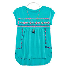 Arizona Hi-Lo Top w/ Necklace - Girls' 7-16 and Plus