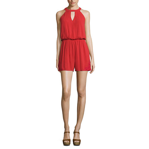 My Michelle Sleeveless Romper-Juniors