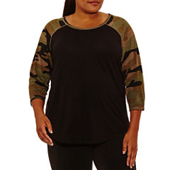 Xersion 3/4 Sleeve Crew Neck T-Shirt-Womens Plus
