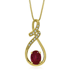 Lab Created Ruby & White Sapphire 14K Gold Over Silver Pendant