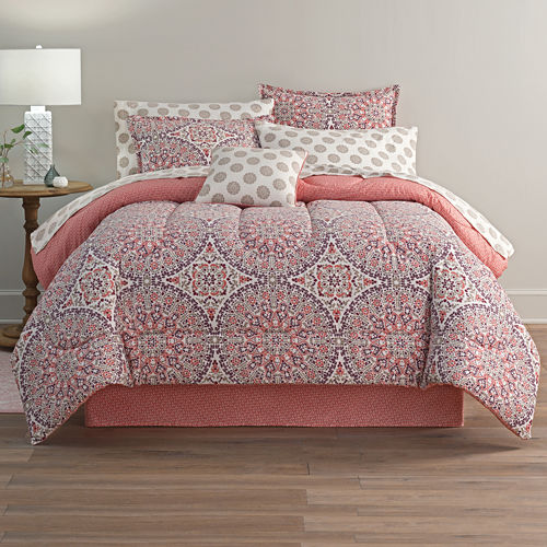 Home Expressions Callista Bohemian Reversible Complete Bedding Set with...