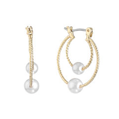 Monet Jewelry White Hoop Earrings