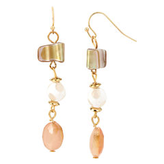 Bleu™ Triple Bead Gold-Tone Drop Earrings