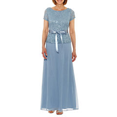 Jump Apparel Short Sleeve Belted Lace Evening Gown-Petites