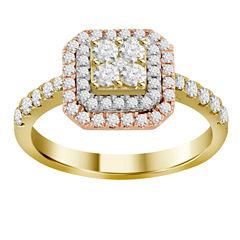 Womens 3/4 CT. T.W. Genuine White Diamond 14K Gold Cluster Ring