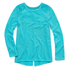 Arizona Crew Neck Long Sleeve Fitted Sleeve Blouse - Toddler Girls