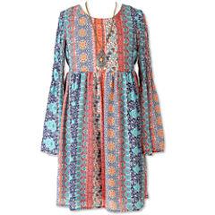 Speechless Long Sleeve Bell Sleeve Peasant Dress - Big Kid Girls