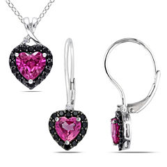 Womens 2-pc. 1/7 CT. T.W. Pink Sapphire Sterling Silver Jewelry Set