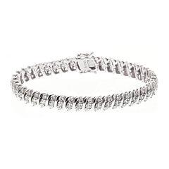 DiamonArt® Cubic Zirconia Sterling Silver S-Link Bracelet